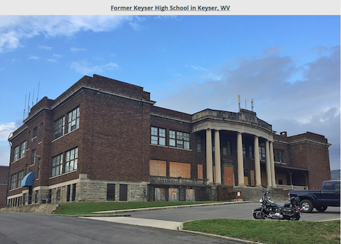 North side view of the main entrance to the former KHS Keyser High School located in Keyser, WV.