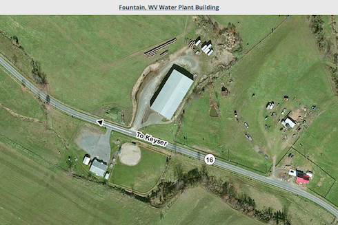 Front view image of the Fountain, WV Water Plant Building Loaction
