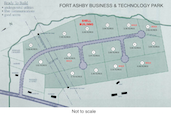 Illustration on land plots at the Fort Ashby Business and Technology Park. This is not to scale.